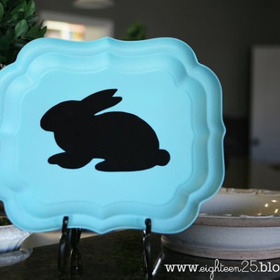 bunny silhouette tray