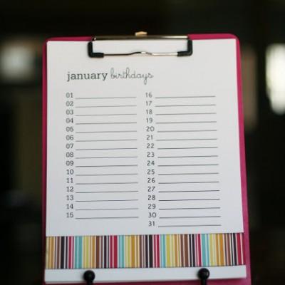 Birthday Reminder Clipboard