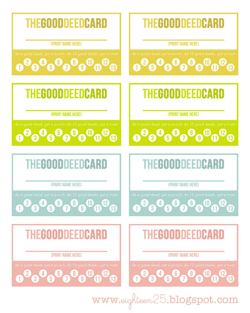 Cutest Good Deed Cards. Print them for free!