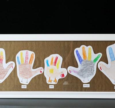 hand print turkey family