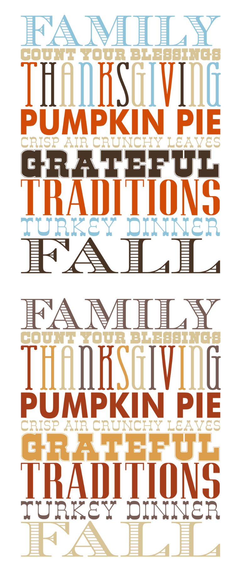 Thanksgiving and Fall Subway Art | Free Printable Holiday Art