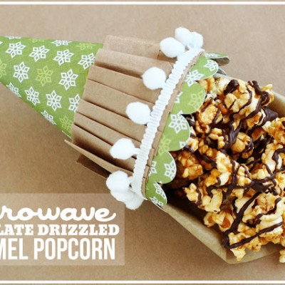 SUPER easy chocolate drizzled microwave caramel popcorn