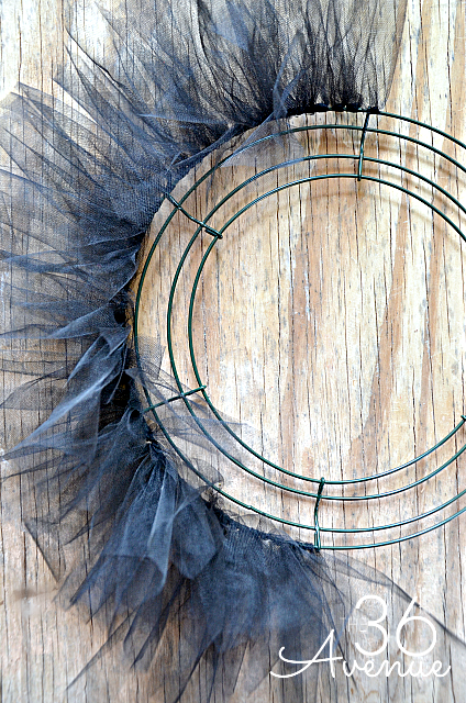 The first step in making a Halloween Wreath