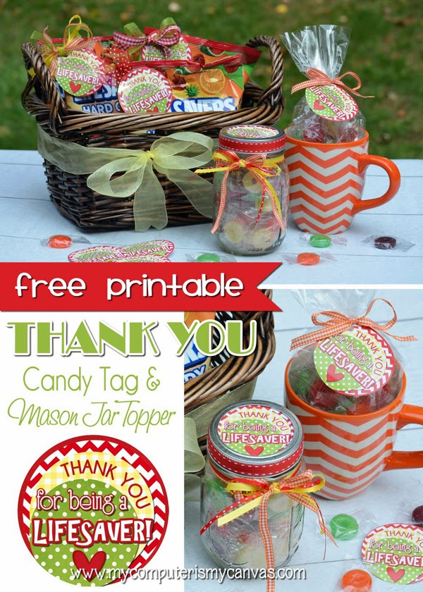 graphic regarding You're a Lifesaver Printable known as Thank Oneself Sweet Tags - 1825