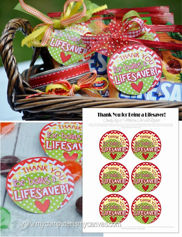graphic relating to You're a Lifesaver Printable named Thank Oneself Sweet Tags - 1825