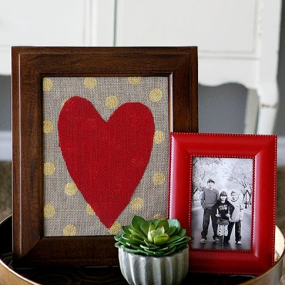 Framed Burlap Heart