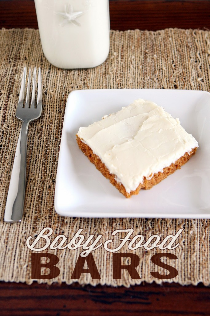 Baby Food Bars. Yes! You actually use baby food to make these and they are so good!