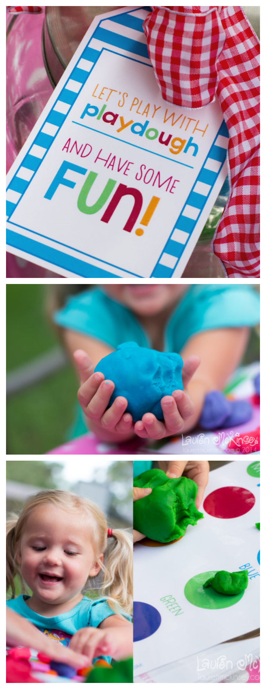 Homemade Playdough Recipe + Free printable Gift Tags, playdough mat and recipe.