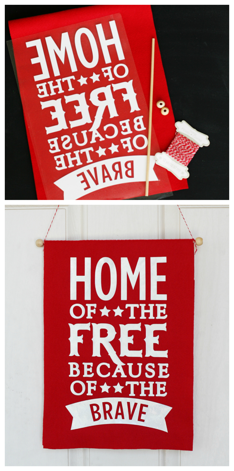 Home of the Free Because of the Brave Banner | 4th of July Craft Ideas