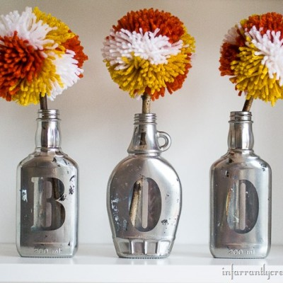 Candy Corn Pom Pom Flowers in Mirrored Boo Vases