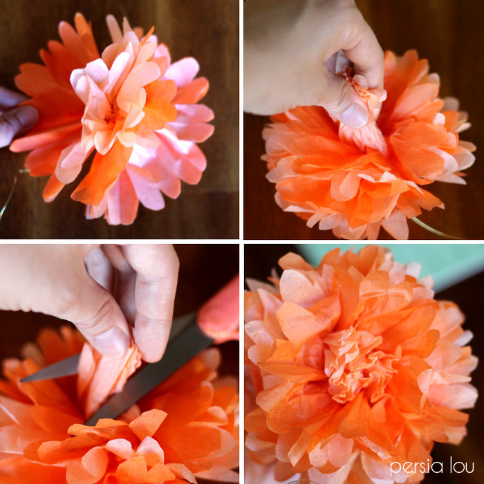 Dia de los muertos wreath eighteen25 carefully separate the layers of tissue paper to create your flower find the center piece of tissue paper twist it together and clip it off to form the mightylinksfo Choice Image