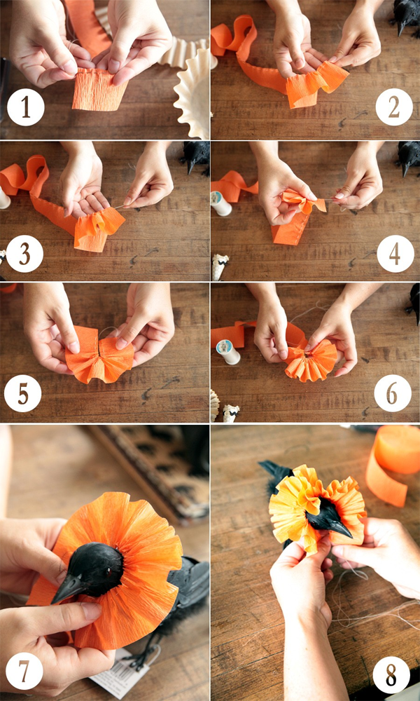 How to make a collar out of crepe paper.