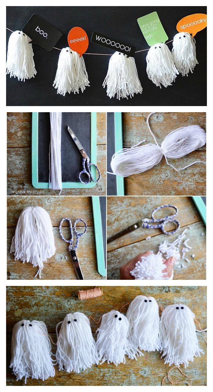 DIY Yarn Ghost Garland | Cute Halloween Decorations