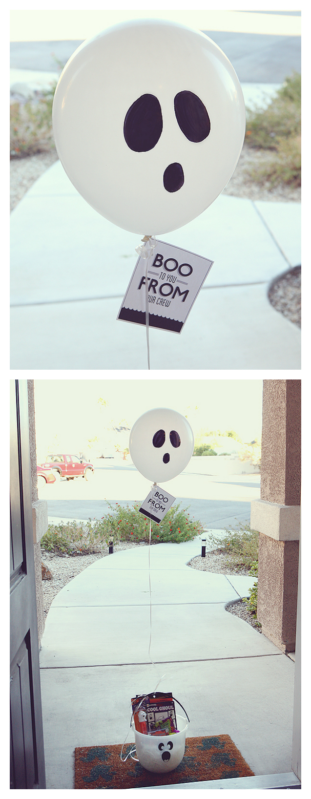 Boo to You - Draw a simple ghost face on the balloon with a Sharpie, then fill your bucket with all kinds of Halloween goodies. Attach the free printable tag to the balloon and tie onto the bucket.
