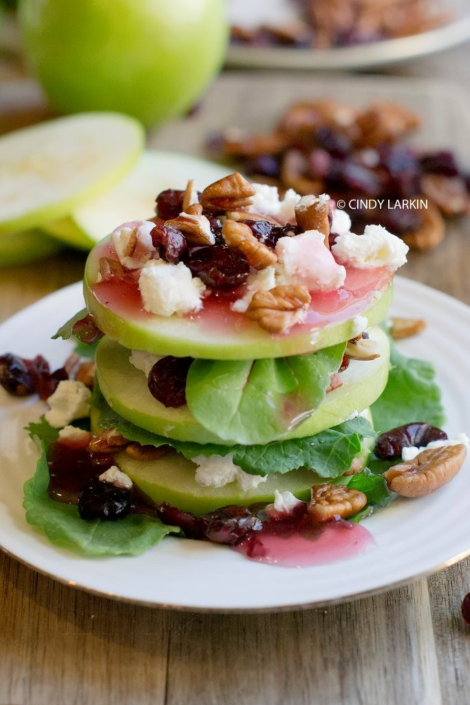 Apple, Goat Cheese and Cranberry Salad. So delicious and looks amazing!