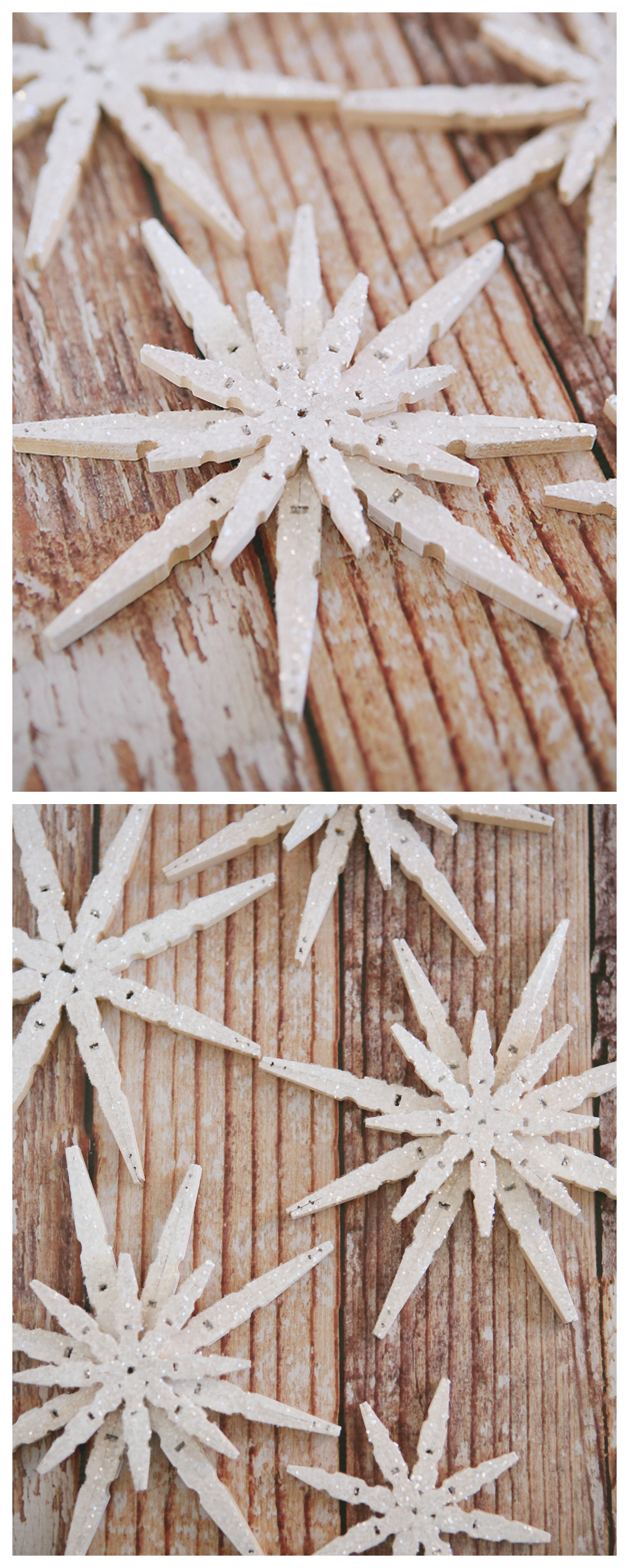 DIY Glittered Clothespin Snowflakes