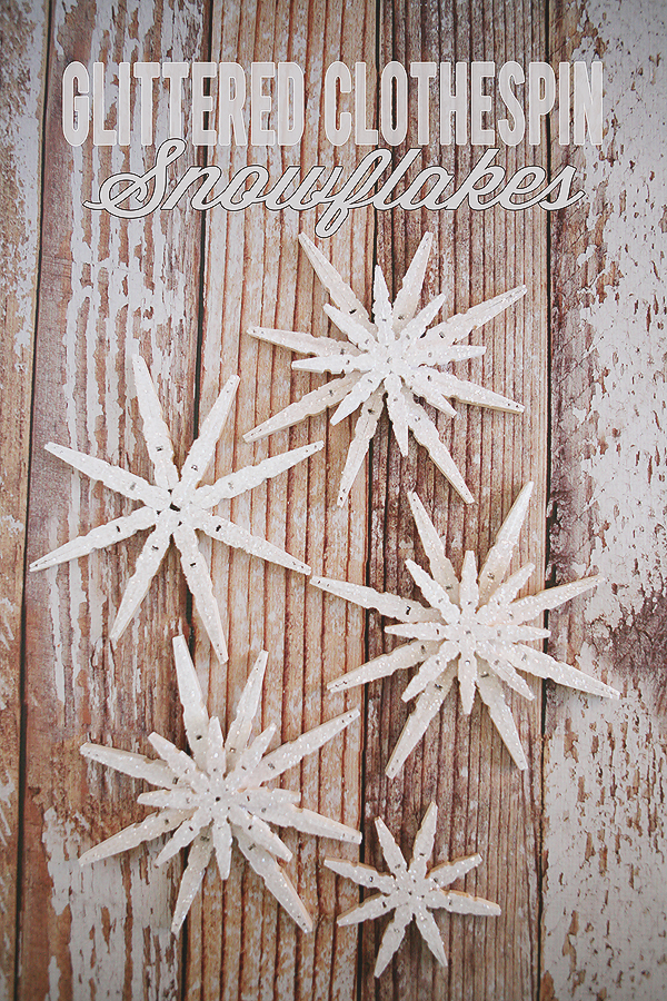 Glittered Clothespin Snowflakes | 50 Awesome DIY Yule Decorations and Craft Ideas You Can Make for the Winter Solstice
