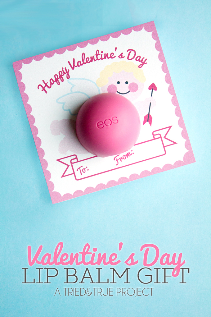 Valentines Day Lip Balm Gift. Include the adorable free printable!