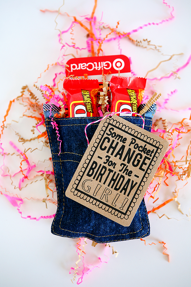 Pocket Change For The Birthday Girl! (there's a tag for boys too!) | Creative Birthday Gifts