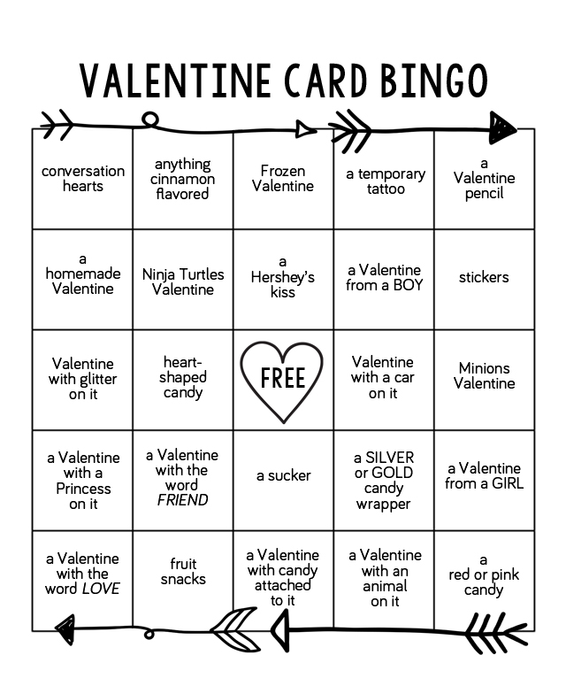 graphic regarding Printable Valentine Bingo Cards identified as Valentine Card Bingo - 1825