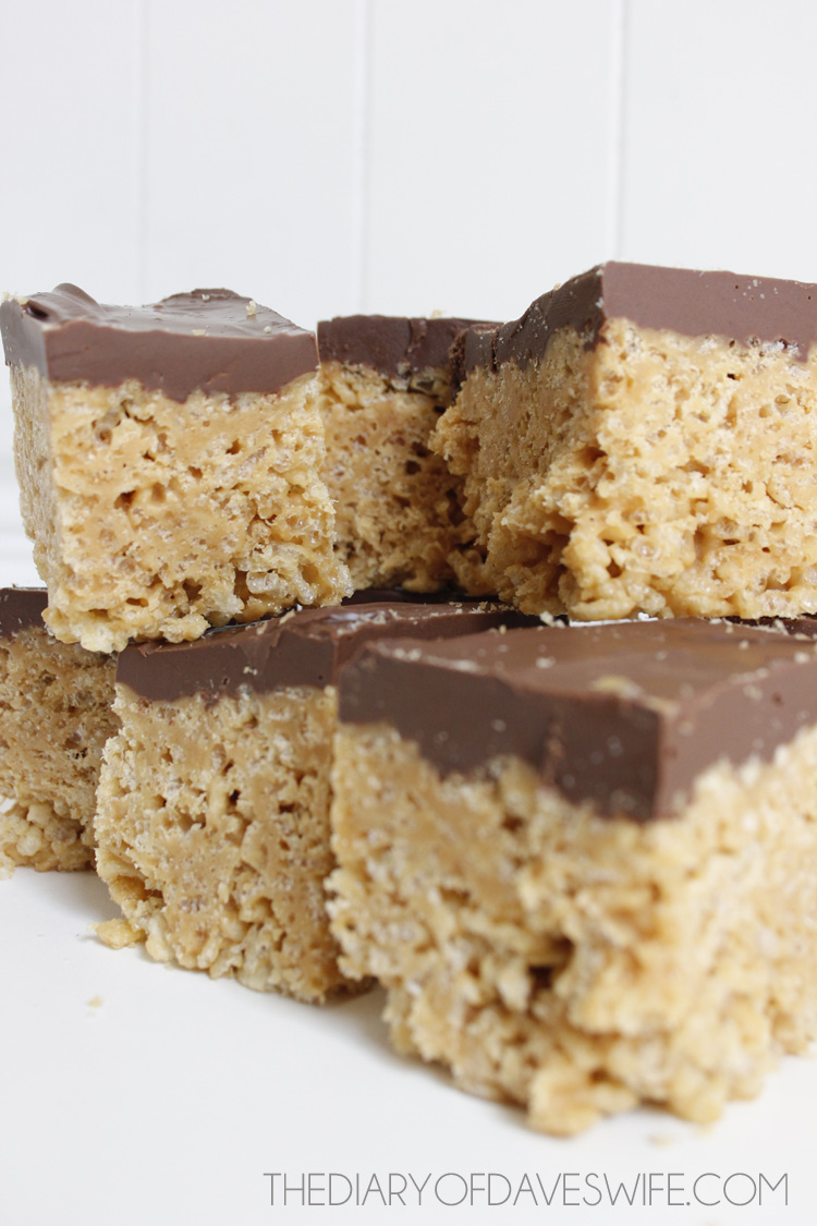 Peanut Butter Rice Crispy Treats With Chocolate Frosting