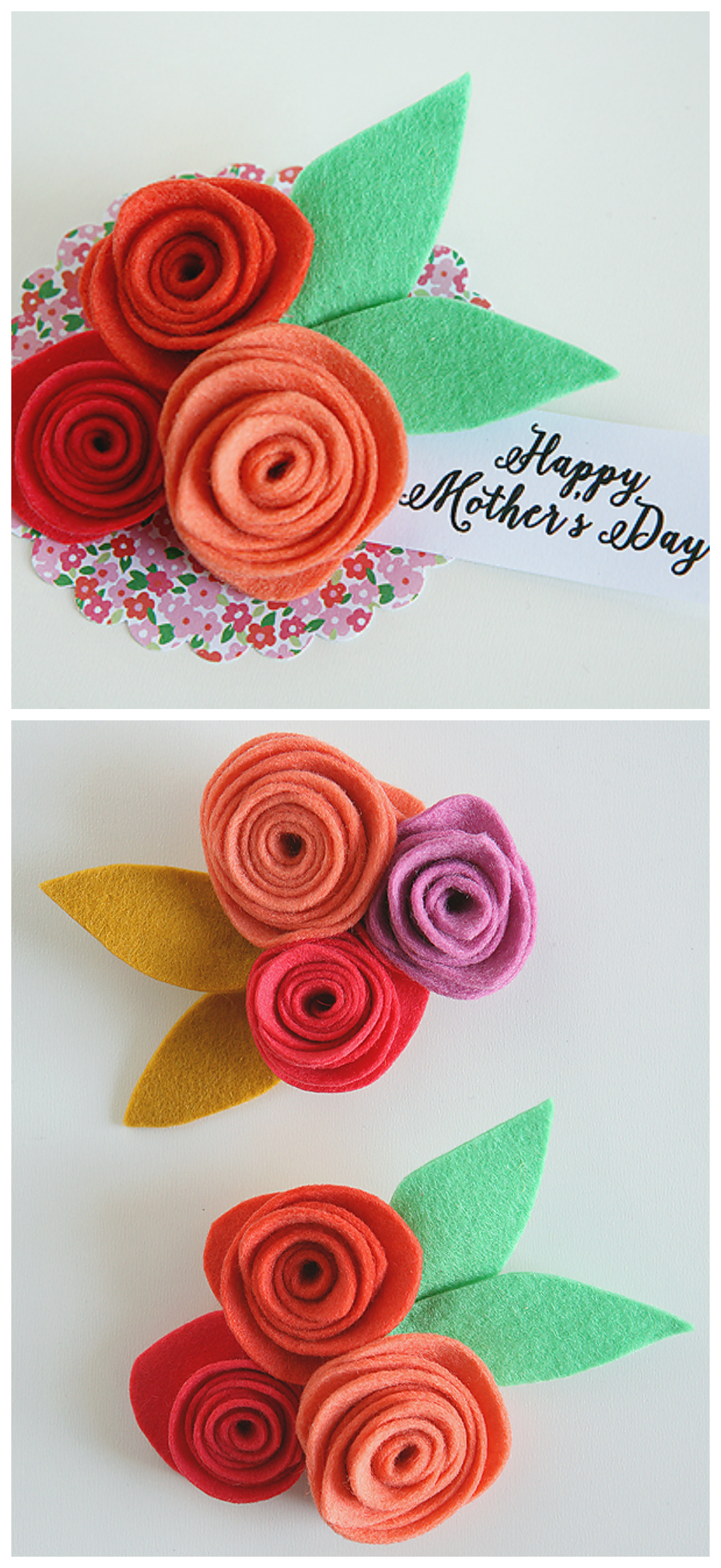 Felt Flower Corsages for Mother's Day | Includes instructions and free printable Happy Mother's Day tag.