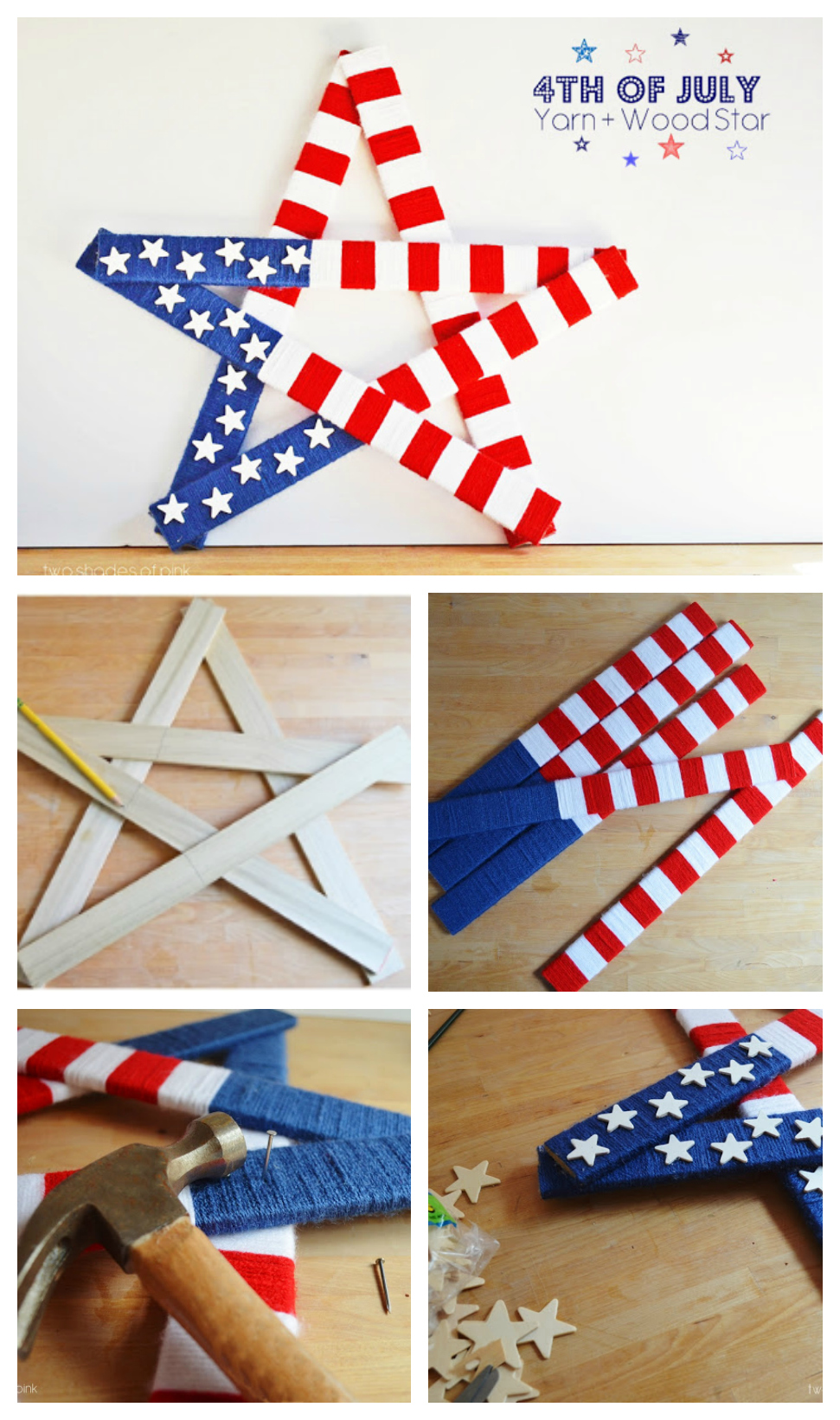 4th of July Yarn and Wood Star | 4th of July Craft Ideas