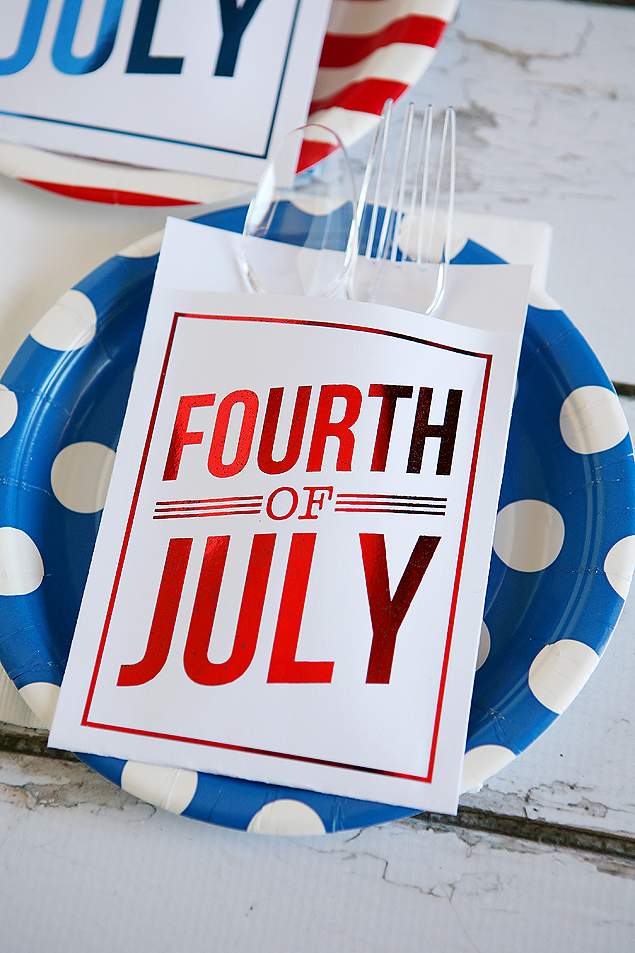 utensil holders foiled 4th of july