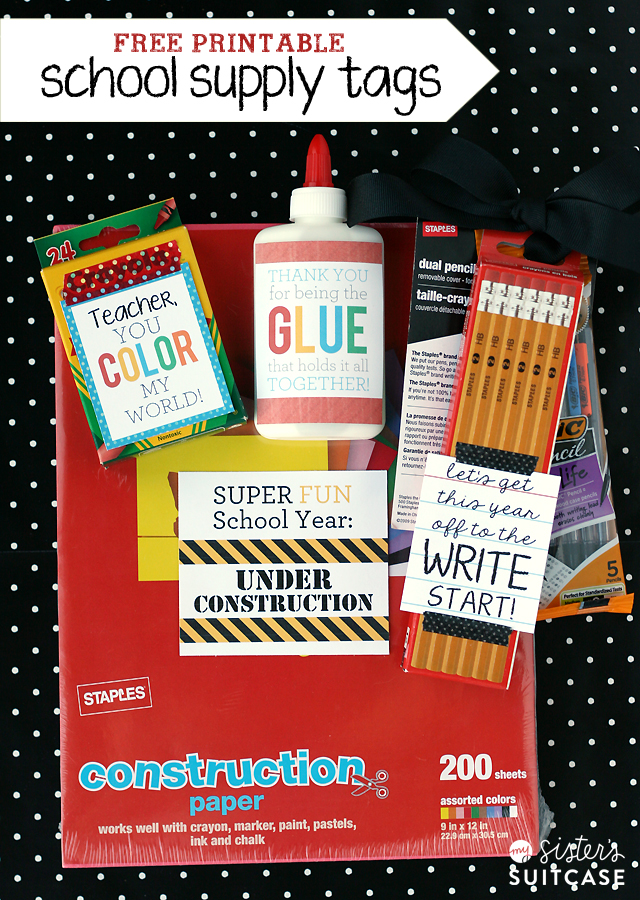 Free Printable School Supply Tags
