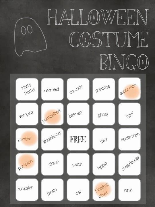 Halloween costume bingo
