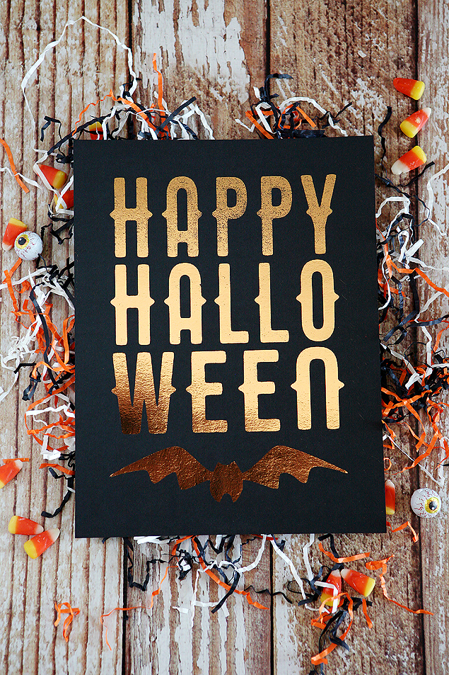 Happy Halloween print foiled in Rose Gold.