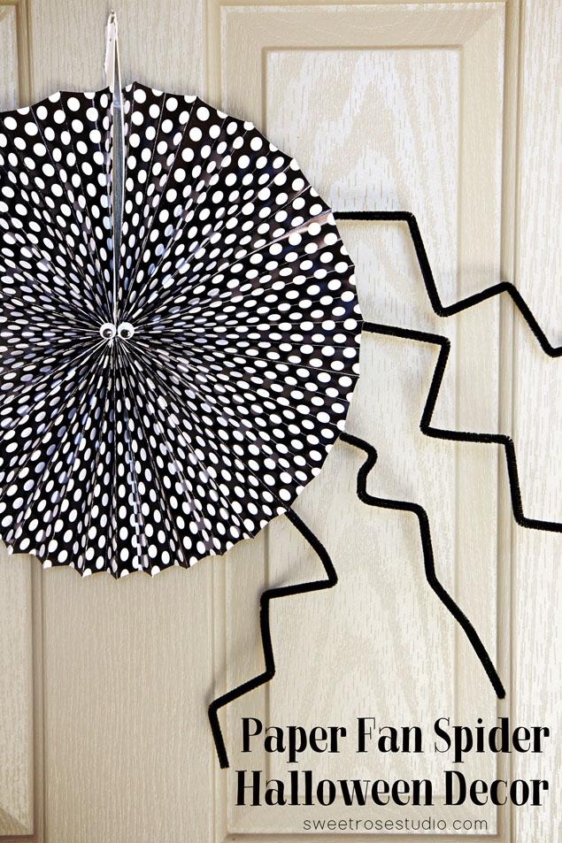 Paper-Fan-Spider-Halloween-Decor-at-Sweet-Rose-Studio