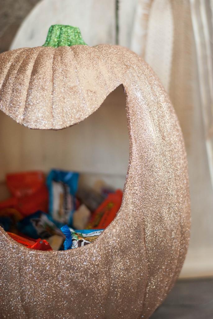 glitter pumpkin candy holder
