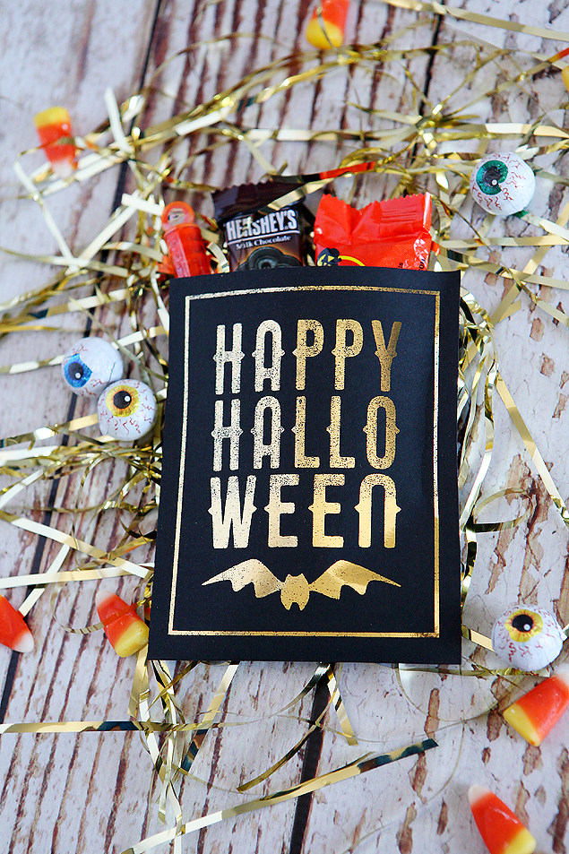 Happy Halloween treat pouches. Foiled in gold using the Minc!