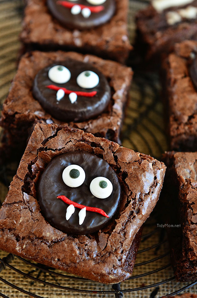 these easy mint vampire brownies make a fun halloween treat