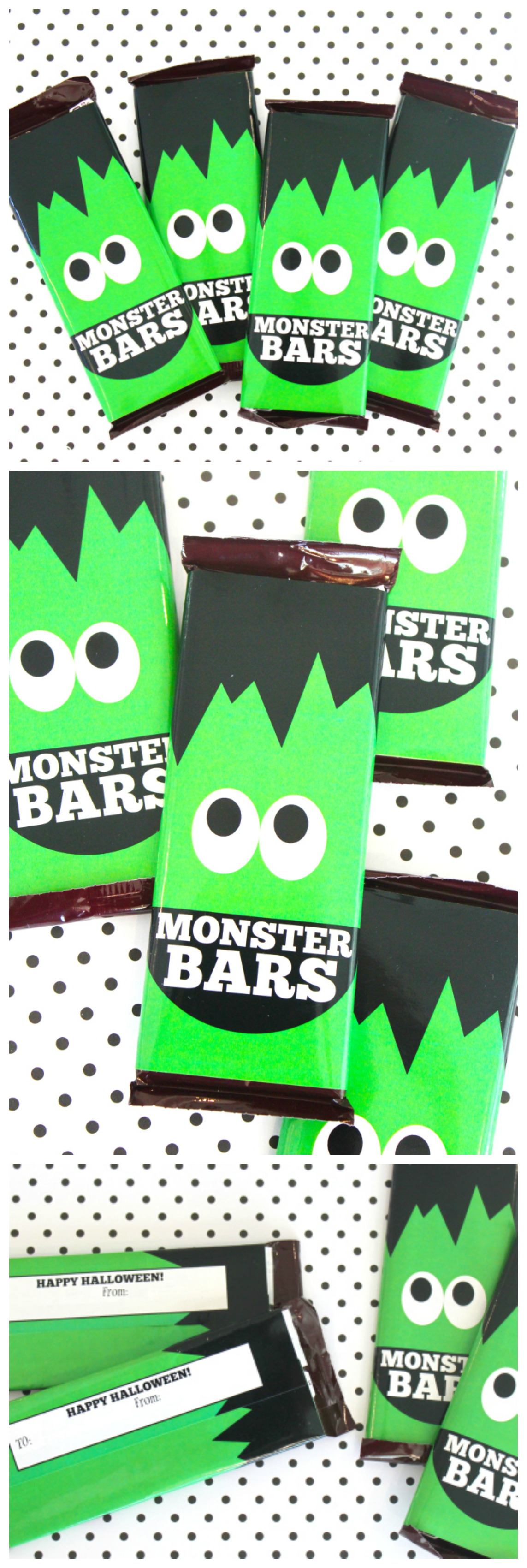 Printable Monster Bars Candy Bar Wrappers | So Fun For Halloween!