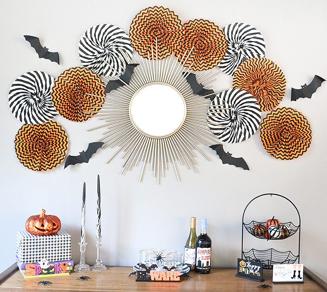 Halloween Paper Fans made with $1 spot napkins! Love this idea so much.