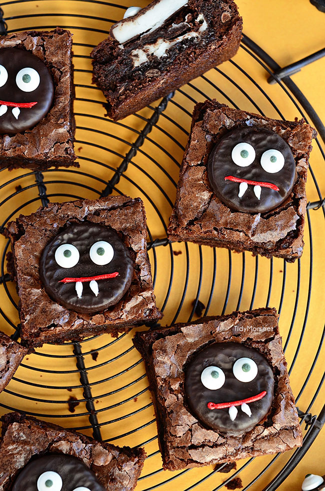 Vampire Brownies are an easy fun mint brownie treat perfect for Halloween.