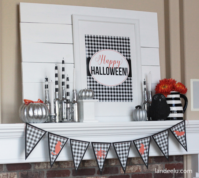 Buffalo-Check-Halloween-Mantel