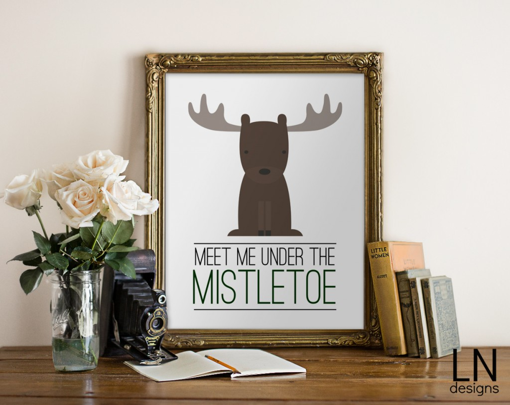 Free printable Meet Me Under The Mistletoe by Christina Cook for Eighteen25.com. So cute for Christmas!