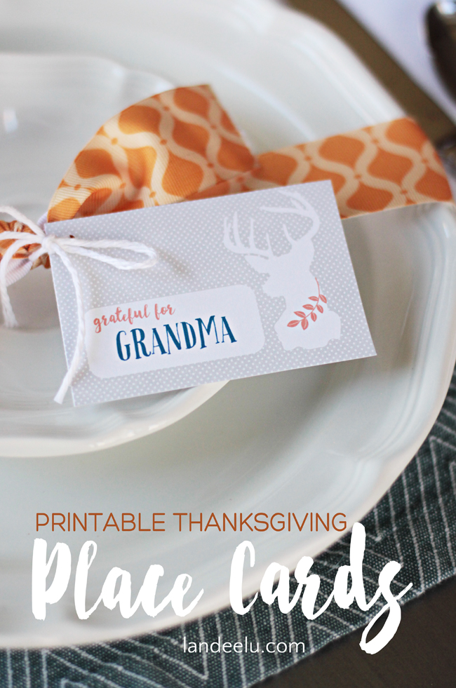 Printable Thanksgiving Place Cards  |  Add text or hand write your Thanksgiving guest's names on these adorable printable place cards!