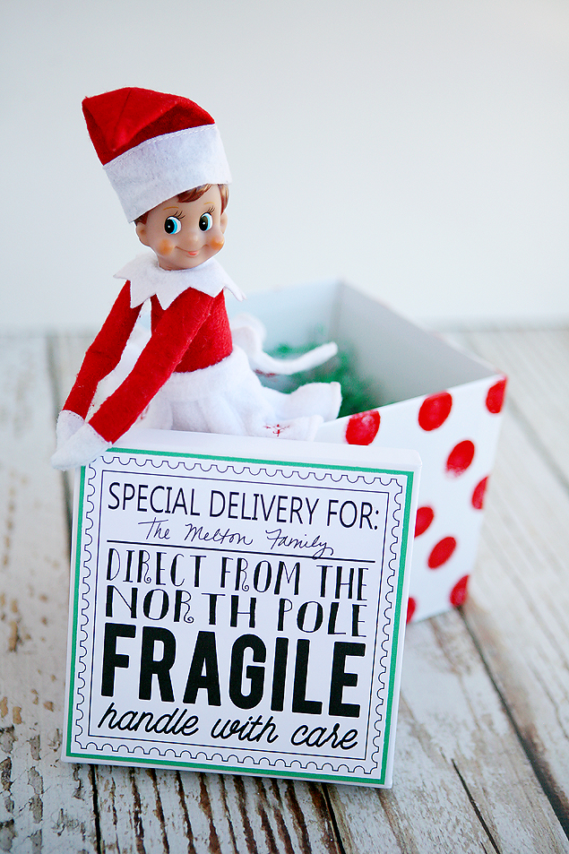 Elf On The Shelf Return Ideas. Fun way to deliver your elf back to your family. Includes instructions for the box and the free download for the cute printable!