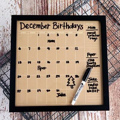 Dry Erase Birthday Calendar