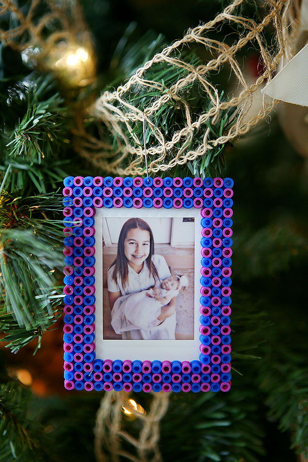 Perler Bead Christmas Ornaments. We love making one new ornament with the kids each year!