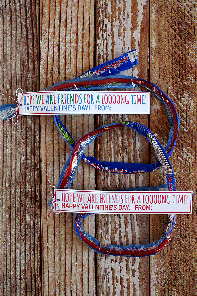 Hope we are friends for a looong time! Valentines for kids using fun super ropes licorice.