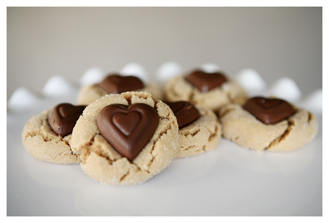 Valentine's Day Peanut Butter Blossom Cookies