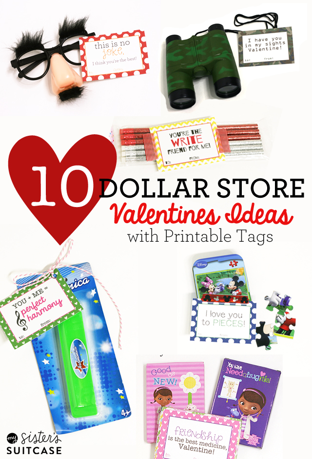 10 Dollar Store Valentines for Kids with Printable Tgas