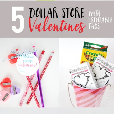 Dollar Store Valentines with Printable Tags
