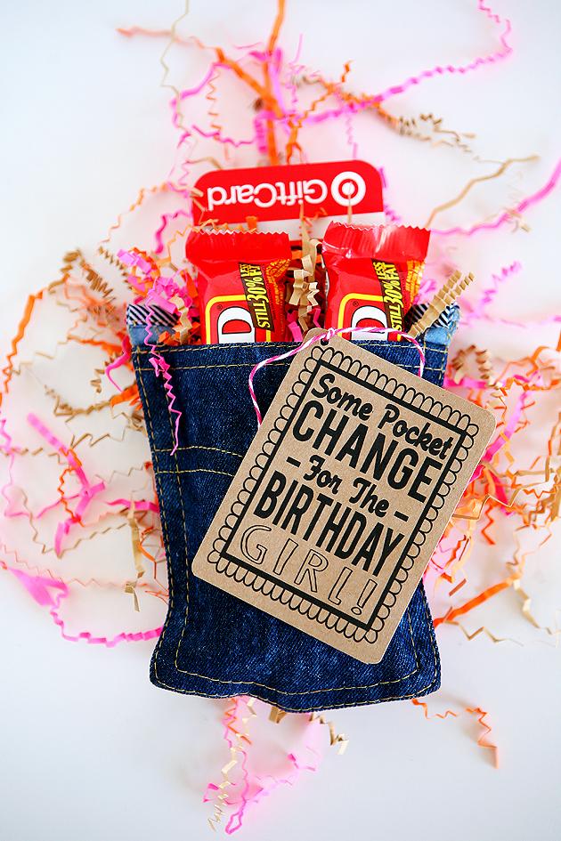 denim pocket birthday gift