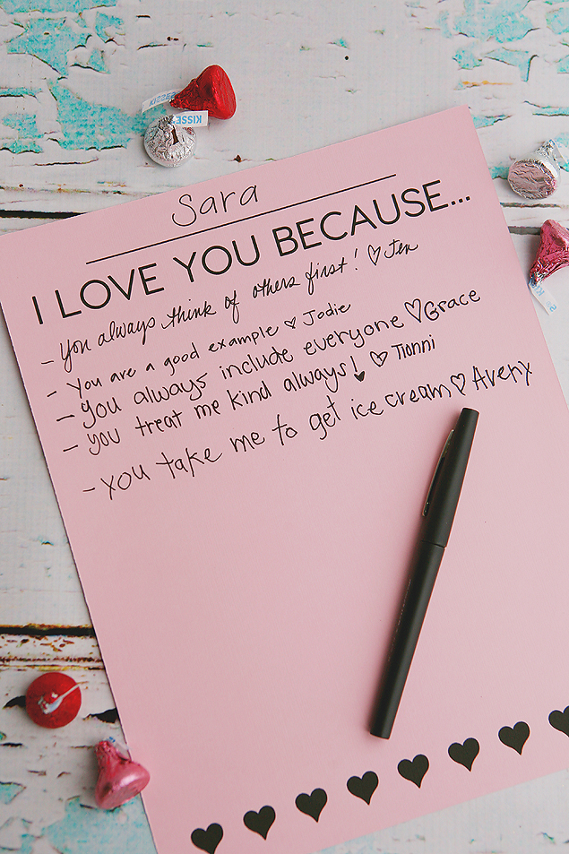 I Love You Because... | Valentine's Day Activity with free print!